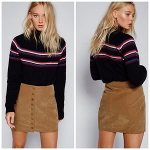 Free People Oh Snap Vegan Suede Button Mini Skirt